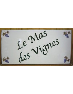 Plaque pour maison en céramique rectangle décor raisin