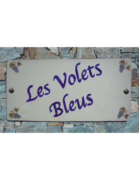 Plaque pour maison en céramique décor Grappe de raisin bleu