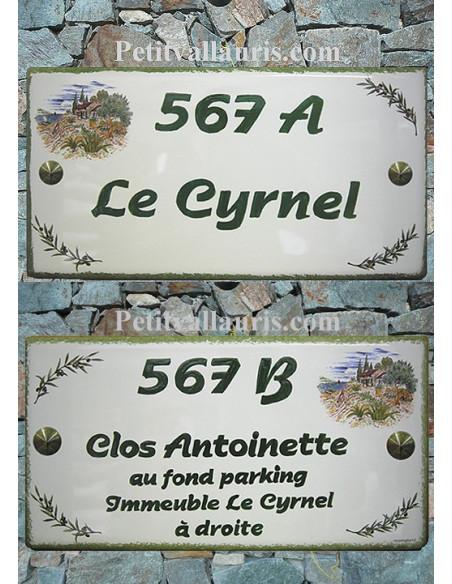 Plaque pour maison en céramique Mas Provençal et Brin d'Olives