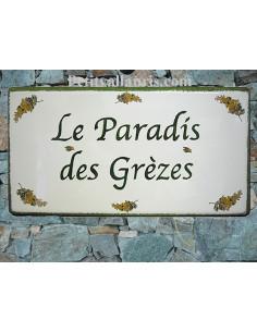 Plaque pour maison en céramique décor Mimosas au bord vert