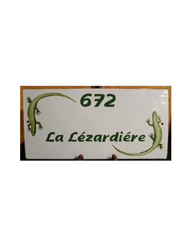 Plaque de maison en céramique décor Les Lézards
