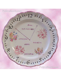 Assiette Louis XV souvenir de naissance fille décor rose