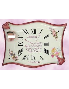 Horloge Parchemin naissance avec photo en porcelaine