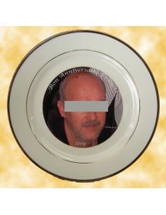 Assiette en porcelaine avec filet doré pour anniversaire avec photo et texte personnalisés