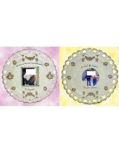 Assiette d'anniversaire modèle Tournesol avec photo et inscription personnalisée