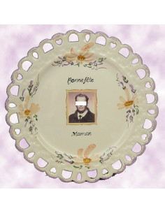 Assiette d'anniversaire modèle Tournesol avec photo décor Fleur Saumon