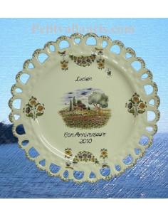 Assiette d'anniversaire ajourée modèle Tournesol décor Provençal