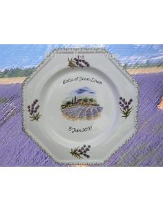 Assiette d'anniversaire octogonale décor Lavande et Village