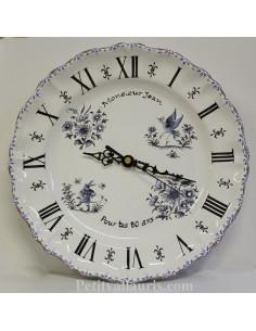 Horloge pour Anniversaire décor Tradition Vieux Moustiers bleu