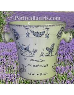 Seau à champagne en ceramique décor Tradition Vieux Moustiers