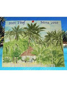 Fresque murale sur carrelage décor exotique personnalisable