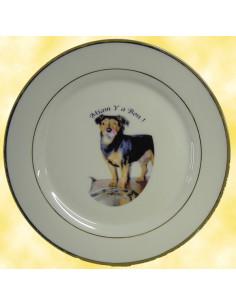 Assiette avec photo personnalisée en porcelaine filets or