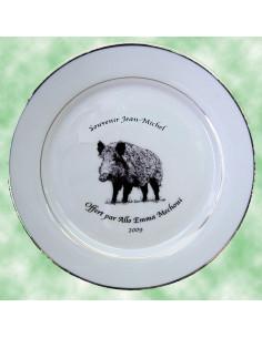 Assiette avec photo personnalisée en porcelaine filets or autre modèle