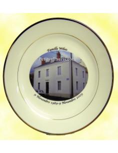 Assiette avec photo personnalisée en porcelaine filets photo maison