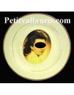 Assiette portrait personnalisée en porcelaine filets