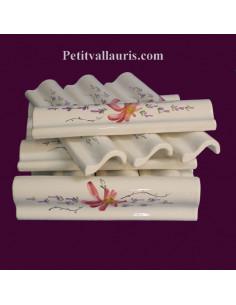 Listel fin ou corniche émaillée décor fleur rose