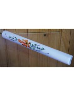 Listel fin ou corniche émaillée décor fleur orange
