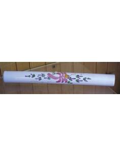 Listel fin ou corniche émaillée fleuri rose