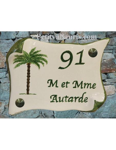 Plaque de Maison en faience modèle parchemin motif artisanal palmier + inscription personnalisée