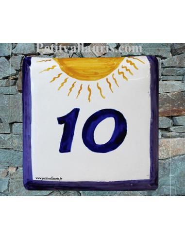 Numéro de maison décor soleil pose horizontale