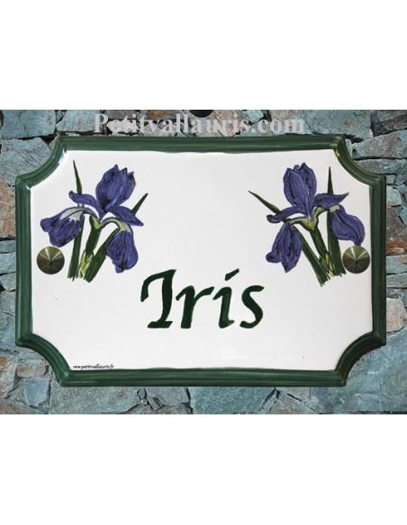 Plaque de Maison en céramique aux angles incurvés motif artisanal iris bleus inscription personnalisée