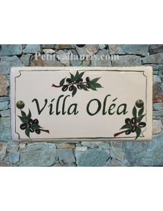 Plaque de Maison rectangle décor brins d'olives noires aux angles inscription personnalisée bord verte