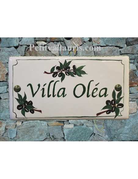 Plaque de Maison en céramique émaillée décor brins d'olives noires aux angles + inscription personnalisée bord verte