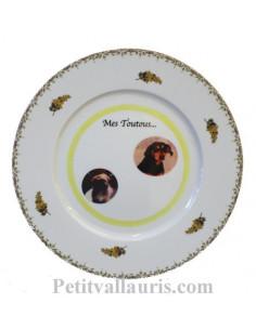 Assiette avec photo personnalisée en porcelaine décor brins mimosas