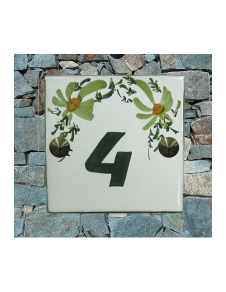 Numéro de rue ou de maison décor fleurs vertes pose horizontale