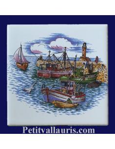 Carrelage décor Port de pêche Atlantique 15 x 15 cm