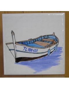 "Carrelage décor Barque ""Pointu"" 10 x 10 cm"