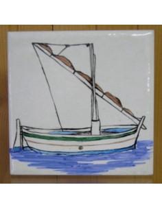 """Carrelage décor Bateau """"Pointu"""" 10 x 10 cm"""