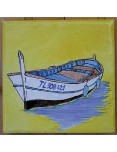 """Carrelage décor Barque """"Pointu"""" 10 x 10 cm sur fond jaune"""