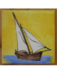 Carrelage décor Tartane fond jaune 10 x 10 cm