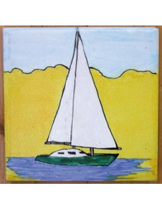 Carrelage décor Voilier sur fond jaune 10 x 10 cm