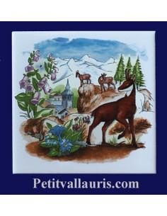 Carreau décor Chamois en montagne pausage été 10 x 10 cm