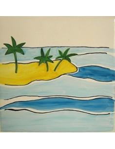 Carreau décor presqu'île n°2 15 x 15 cm