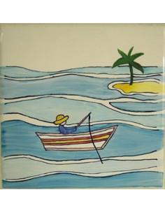 Carreau décor Petit pêcheur n°4 15 x 15 cm