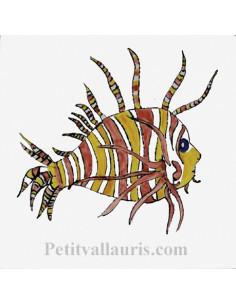 Carreau décor poisson exotique n°7 15 x 15 cm
