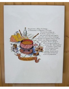 Carreau décor Fondue Savoyarde 25 x 33 cm
