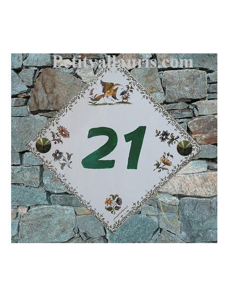 Plaque numéro de maison en faience pose diagonale décor tradition polychrome + chiffre personnalisé vert