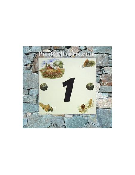 Plaque numéro de Maison en faience émaillée motif cabanon et olivier + chiffre personnalisé noir