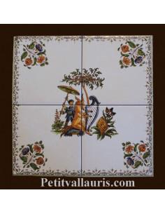Décoration sur carrelage 21.6 x 21.6 cm sur carreau de 10.8 cm