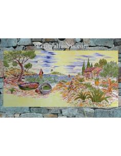 Fresque céramique décor calanque et cabanon sur fond jaune