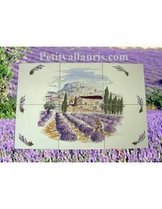 Fresque murale sur carreaux de faience blancs décor paysage champs de lavande taille 60 x 40 cm