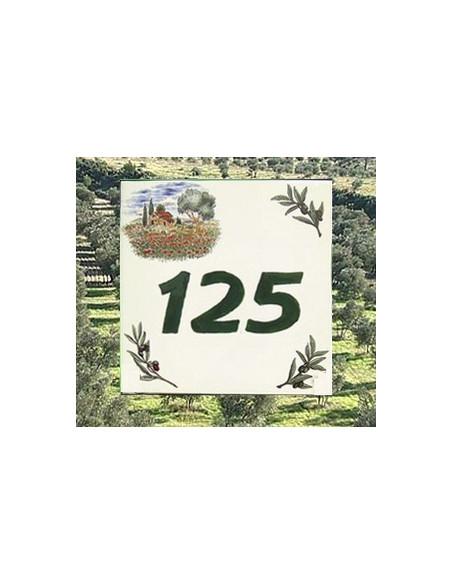 Plaque numéro de maison en faience émaillée motifs cabanon et brins d'olive chiffre + personnalisé vert