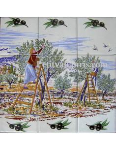 Petite fresque murale décor Récolte des olives 30 x 30 cm