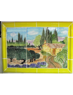 Fresque décor Paysage Campagne Provençale (hors listels)