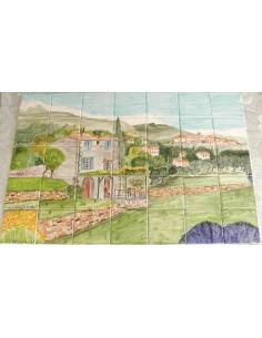 Fresque murale carrelage décor bastide arrière pays niçois