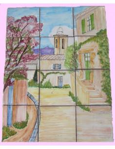 Fresque mural carrelage décor Clocher et village Provençal